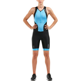 2XU Perform Combinaison avec avec zip frontal Femme, black/aquarius mesh print
